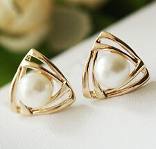 Fashion Women Gold Plated Crystal Pearl Elegant Ear Heart Stud Earrings Gift US4