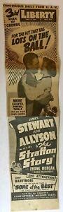 Newspaper Movie Ad James Stewart Stratton Story Large 1949 Seattle WA