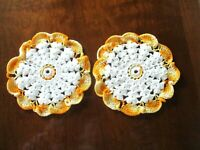 "Pair of Orange and White  7"" diameter hand crocheted doilies"