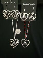 2 Silver Tone Celtic Heart necklaces with earrings