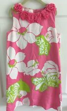 Girl's Lilly Pulitzer Pink White Green Floral Lined Shift Dress Easter Sz 12