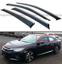 FOR 16-18 10TH GEN HONDA CIVIC SMOKE TINTED WINDOW VISOR W/ CLIPS & CHROME TRIM