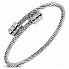Bracelet Cuff Torc in Wire Cable Twisted Celtic Steel Ends Ribbed
