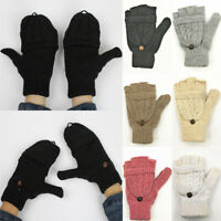 New Warm Winter Fliptop Gloves Fingerless Thicken Convertible Knit Wool Mittens