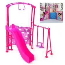 Plastic Slide Swing Climber Playground Dollhouse For Kid Baby Girl Barbie Doll\