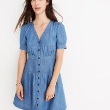 Madewell Daylily chambray denim blue dress sz 8 pintuck  short sleeves New