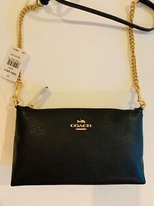 COACH black Zip Top Crossbody pebbled leather, gold chain