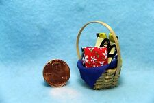 Dollhouse Miniature Sewing Basket with Fabric and Accessories ~ IM65341