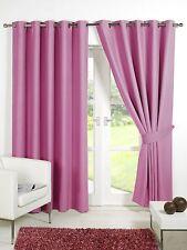 Pink Supersoft  BLACKOUT Thermal Curtains in Ring Top / Eyelet  + Free Tiebacks