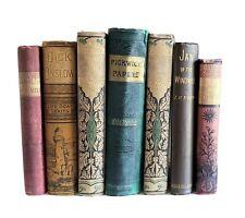 Lot Of 7 Antique Victorian Books Farmhouse Rustic Office Library Classic Decor