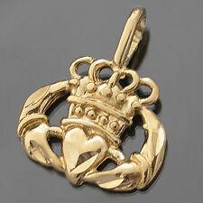 Irish CLADDAGH 14K GOLD Layered Diamond Cut Charm Pendant + LIFETIME GUARANTEE