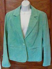 EUC B by Bernard Light Green Leather Single Button Jacket Blazer XL Free Ship!