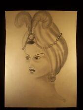 Stern Head Dress Portrait 1944 Original Pencil Sketch by C. Schattauer Kelm