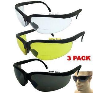 3 Pair Assorted Lot Bifocal Safety Reading Glasses Clear Lens ANSI Reader Sun