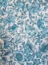 "Vintage Blue & White 60's 70's Psychedelic Floral Barkcloth Curtains 64"" w X 71"""