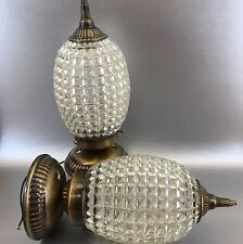 1 Of 2 Brass & Glass Ceiling Lamp Light Hollywood Regency MCM Vintage Modern