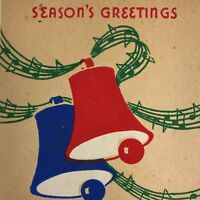 Vintage Mid Century Christmas Greeting Card Red Blue Jingle Bells Music Notes