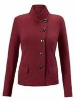 CAbi Outing Blazer #3175 SIZE 4 Red Jacket Asymmetric 5 Button Ponte Knit Career
