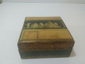 Vintage Italian Florentine Gold & GREEN 2'' X 4''  Hinged Trinket Box
