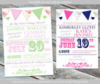 10 Personalised Hen Night Party Invitations Bunting Carnival Vintage Tea Party