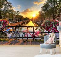 3D Sunset Flowers and Bike Landscape Wall Murals Wallpaper Photo Painting Decor