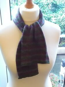 BRORA Cashmere Pre Loved Purple/Grey/Green Striped Scarf Used Condition