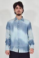 CLASS ROBERTO CAVALLI Camicia Celeste In Cotone Taglia IT 48 - XL Uomo Man