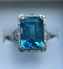 UNBELIEVABLE 10CT. EMERALD CUT BLUE TOPAZ GEMSTONE RING WITH VINTAGE 10k SETTING
