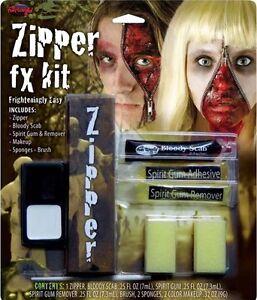 HALLOWEEN ZIPPER FACE FX HORROR MAKEUP KIT SCARY ZIP BLOODY ZOMBIE CUT SCAR