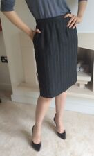 Yves Saint Laurent YSL Grey Pin Stripped 100% CUISINE jupe skirt UK 10 UE 38