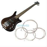 4Pcs String Bass Guitar Parts Stainless Steel Plated Gauge Strings Silver Music