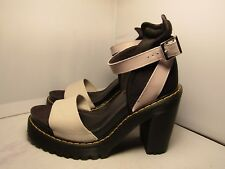 Doc Martens Womens 6 Medea Minimal Gray Leather Ankle Strap High Heels Sandals