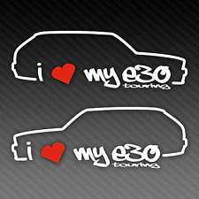 BMW I Love My E30 Touring Sticker Set 20cm x 8cm Silhouette M3 Tuning EDM