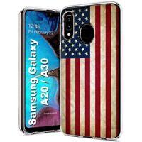 Protective Clear Thin Gel Phone Case Samsung Galaxy A20,American Flag Print
