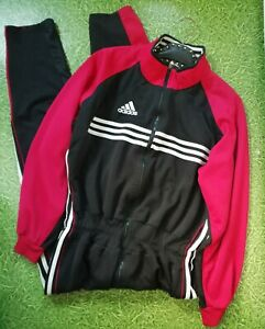 Vintage 80s Men's Adidas all in one tracksuit jump boiler overalls black red M