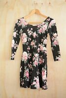 NWT Aeropostale - Black rose print floral scoopback lightweight skater dress, XS