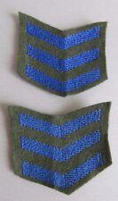 Two x Australian Military Overseas Service Chevrons WW2 Set of 3 Blue on Khaki