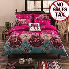 Pink Bohemian Oriental Boho Chic Mandala Soft Bedding Duvet Cover Set Full/Queen