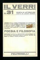Il Verri n. 31 Feltrinelli Editore Poesia e filosofia