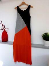 Ladies Lovely River Island Black Grey Orange Calf Split Side Party Dress 12,Vvgc