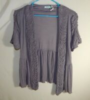 Kimchi Blue Women's Short Sleeve Cardigan Blouse Shirt Top Size SMALL / MEDIUM