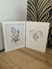 White Wooden Heart Double Photo Frame Home Decoration