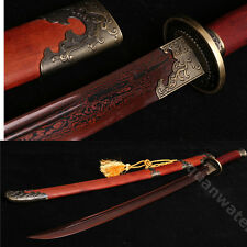 37' ROSE WOOD FOLDED STEEL BLADE PHOENIX CHINESE QING SWORD DAO 清刀