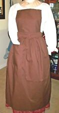 Civil War Dress Victorian Colonial Brown 100% Cotton Pinner~Bib Apron-Plus Size