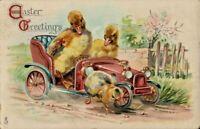 Antique Postcard  Easter Fantasy Tuck's  Fuzzy Ducks Driving Car Chick  No.715 B