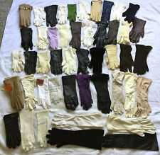 47 Pair Ladies Gloves Short Medium Formal Evening Dress Fancy Leather Vtg