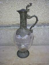 Ancienne carafe aiguiere en verre métal à décanter, art nouveau, French antique