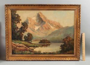Large FRITZ BAER German Oil Painting, Eibsee Lake & Zugspitze Mountain Landscape