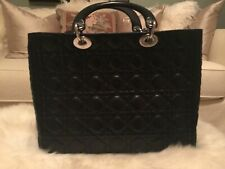 Auth Christian Dior Lady Dior Black Quilted Cannage Leather Large Tote Purse Bag