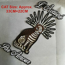 Set Of 3 Large Brown CAT Embroidered Iron On Patch Fashion Decoration DIY Rocker